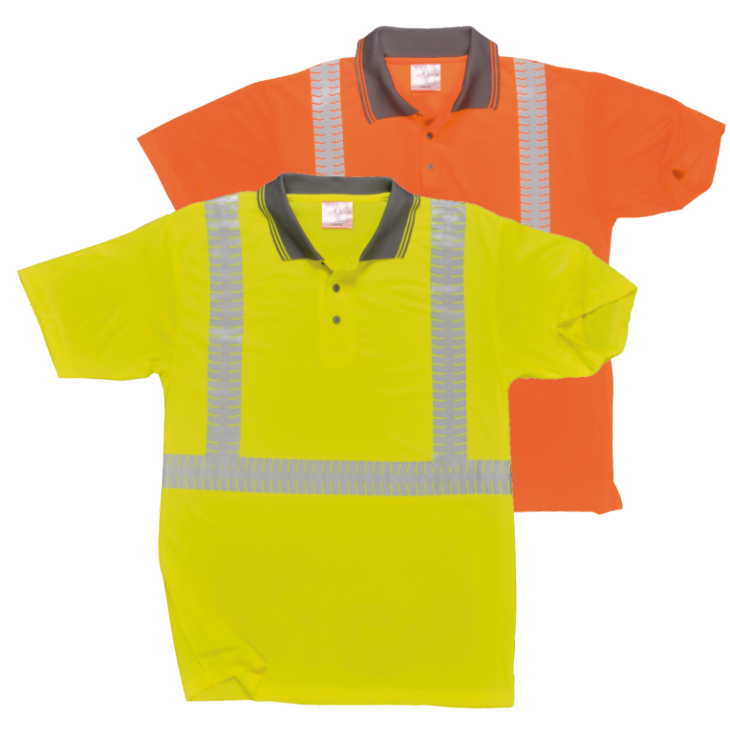 Polo de travail HV EN 471 Jaune ou Orange Fluo