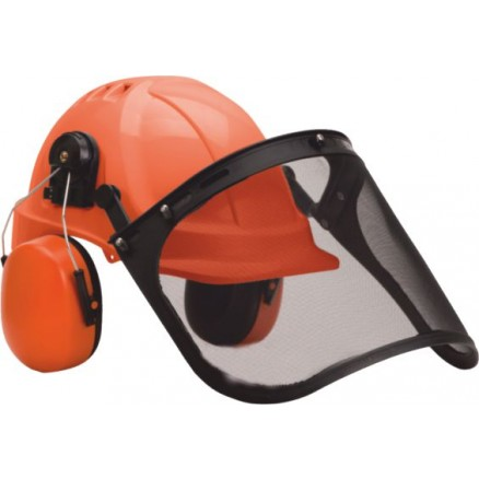 EN 397 KIT Casque, Ecran grillagé et Anti-bruit Travaux forestier Coloris : Orange